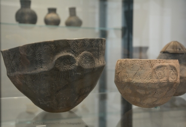Two Pots with Eye Motifs