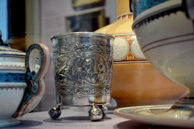 Silver beaker with depictions of scenes from the legend of Sigurd. These ornaments were copied from cravings from Hylestad stave church (Norway).