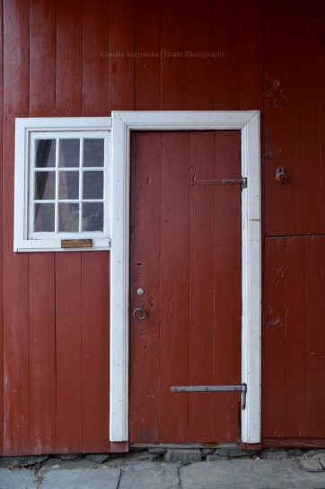 Red doors of building in Bryggen