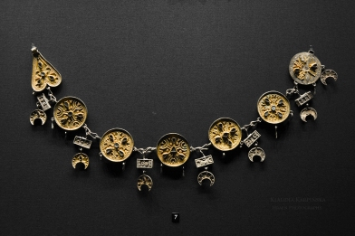Silver partially gilded necklace